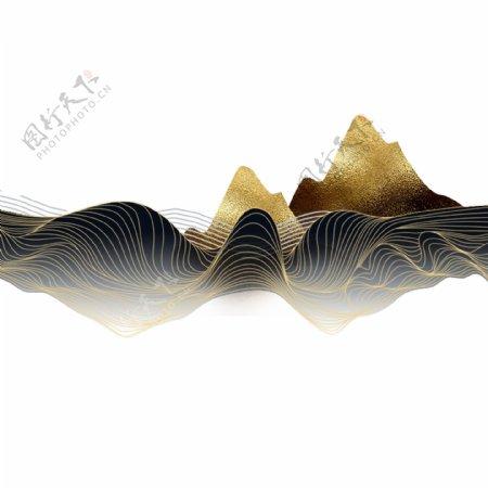 金色线条装饰山水元素图片