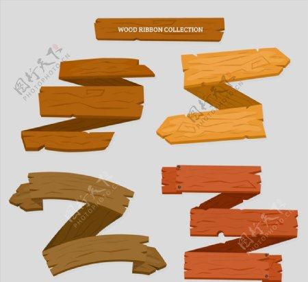 空白木制丝带条幅图片