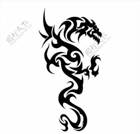 龙纹身矢量图图片
