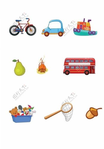 卡通交通工具图片