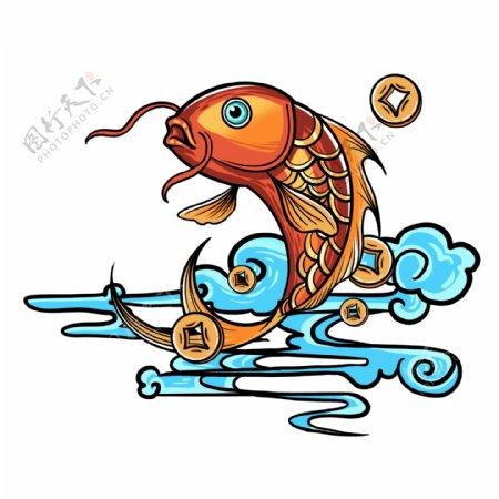 手绘国潮锦鲤图片