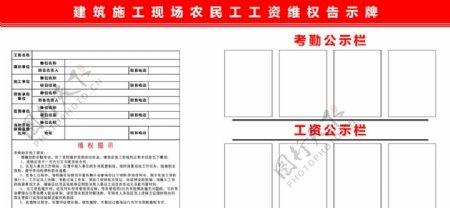 建筑施工现场农民工工资维权告示图片