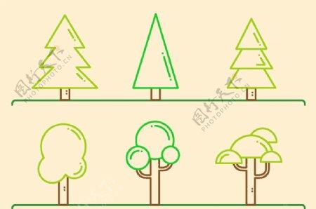 树木简笔画矢量图图片