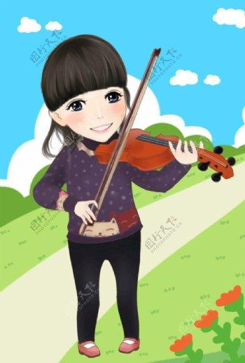 拉小提琴的阳光女生图片