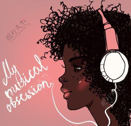 耳机美女插画图片