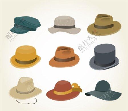 时尚帽子矢量图片