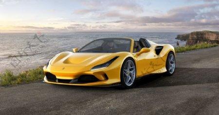 法拉利黄色跑车图片
