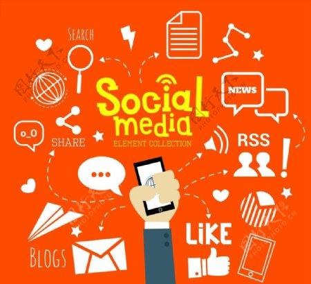 创意社交媒体元素图片
