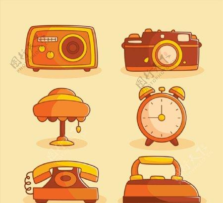 橙色家用物件图片