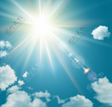 阳光灿烂的天空图片