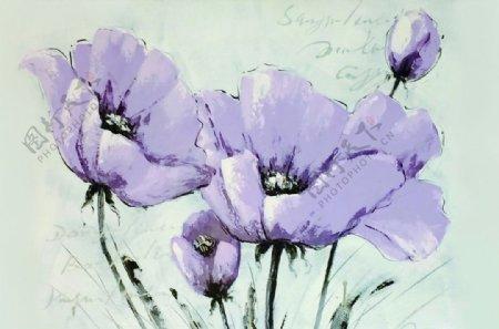 粉彩水墨花卉花朵绘画装饰画图片