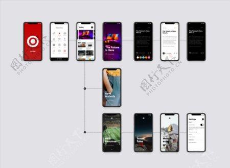 xd新闻红色UI设计启动页首页图片
