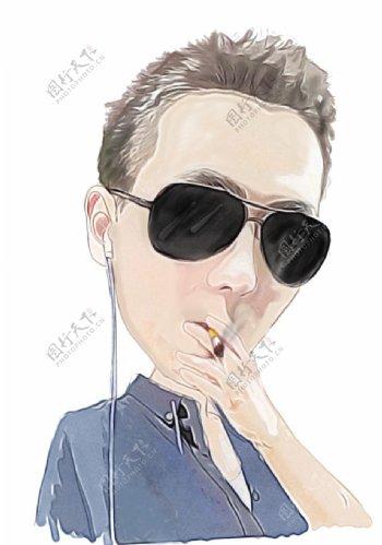抽烟听音乐的小青年插画图片