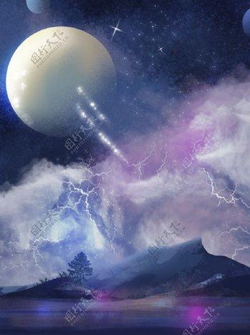 梦幻治愈星球宇航员插画图片