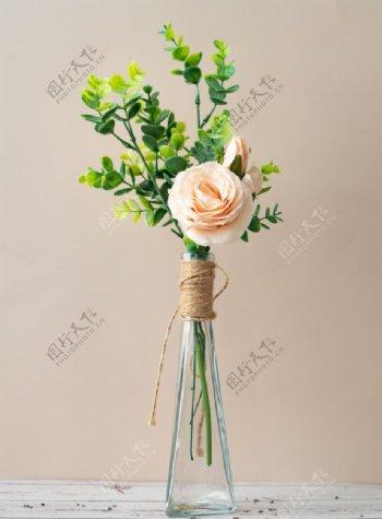 花瓶里的浅粉色玫瑰拍摄特写图片