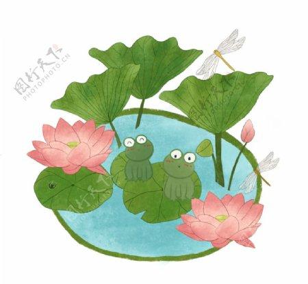 莲花荷叶青蛙插画图片