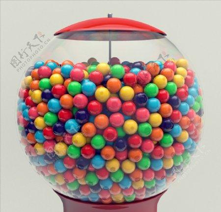 C4D模型动画糖果机泡泡糖图片