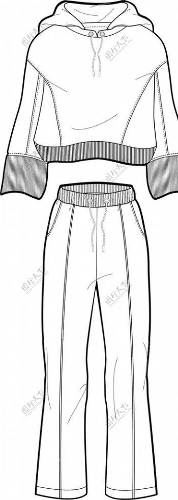 服装素描线稿图片