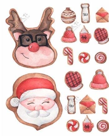 圣诞老人与驯鹿等水彩创意矢量图片