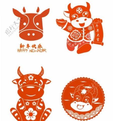 牛剪纸图片