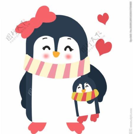母子企鹅插画图片
