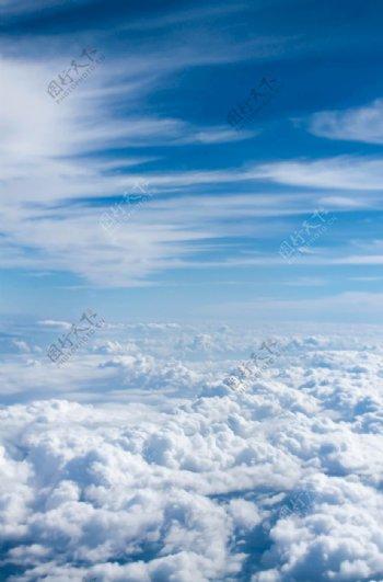 云上的照片蓝色天空云海图片