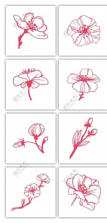 红色简约手绘桃花图片