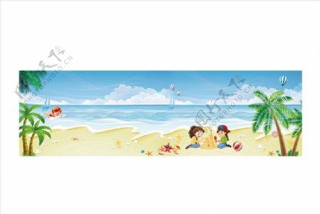 蓝天沙滩背景图片