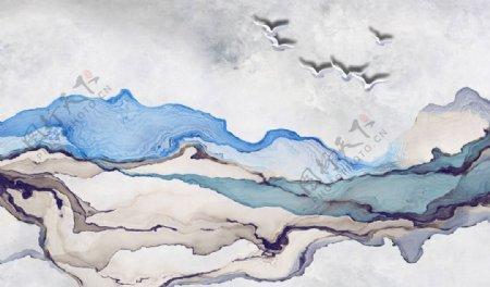 抽象山水背景墙图片