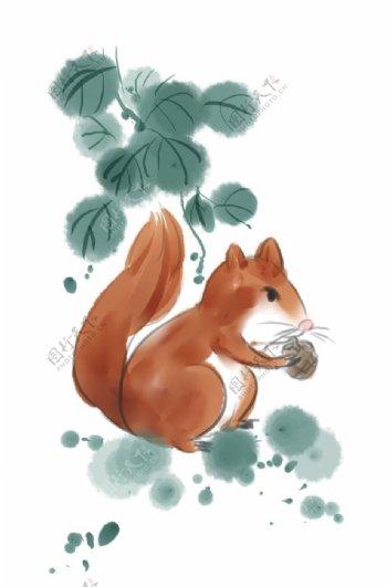 松鼠国画素材图片