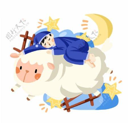 绵羊睡觉插画图片