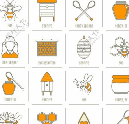矢量手绘蜂蜜图标图片