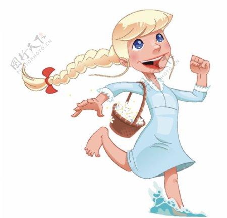 卡通手绘可爱小女孩插画图片