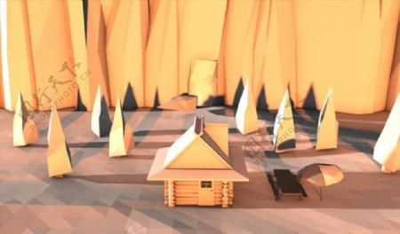 C4D模型山中小木屋房子图片