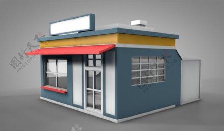 C4D模型像素房子店铺图片