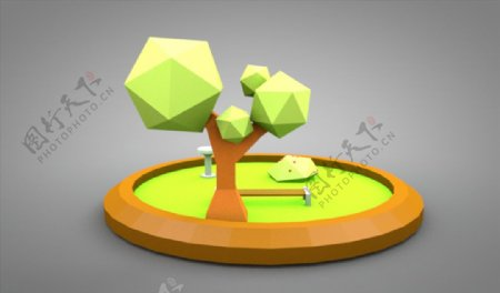 C4D模型树木花坛水池草坪图片