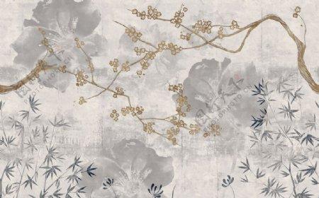 新中式手绘梅花工笔画油画壁纸图片