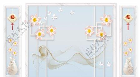 现代简约家和花瓶带框造型背景墙图片