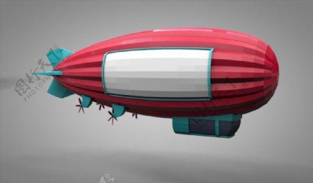 C4D模型像素简约卡通热气球图片