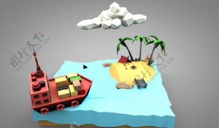 C4D模型轮船芭蕉河水图片