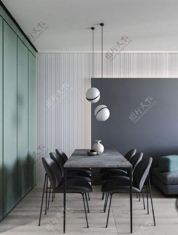 现代餐厅设计灰色和蓝绿色背景墙图片