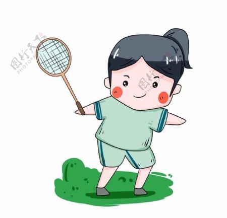 运动女孩打羽毛球图片