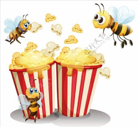 卡通爆米花和蜜蜂图片