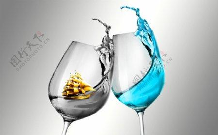 创意酒杯装饰画图片