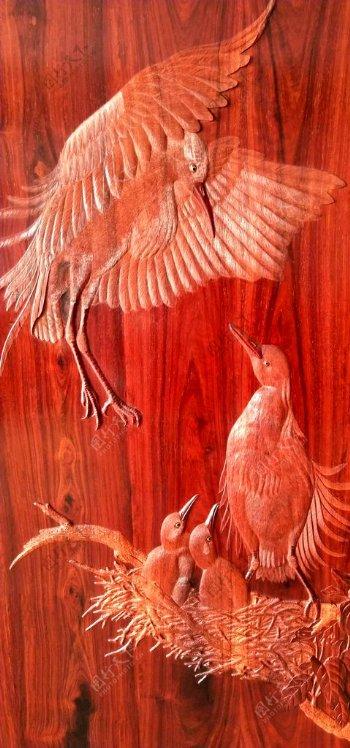 丝翎檀雕翠鸟图片