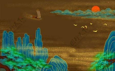 中式山水背景图片