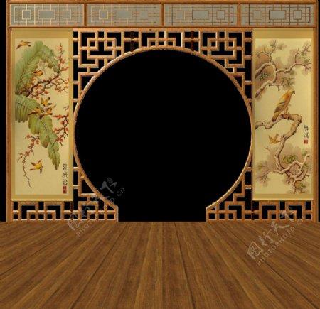 圆形屏风中国风木地板图片