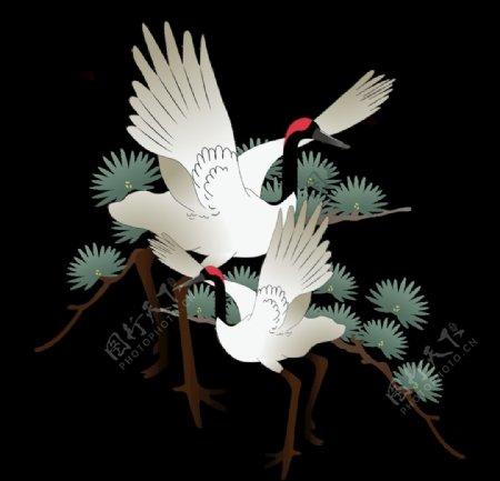 中国风仙鹤丹顶鹤古风古典元素图图片