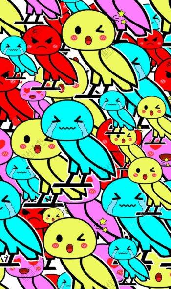 卡通愤怒的小鸟图片