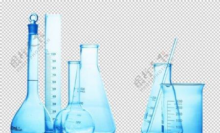 容量瓶烧杯化学实验器材PNG图片